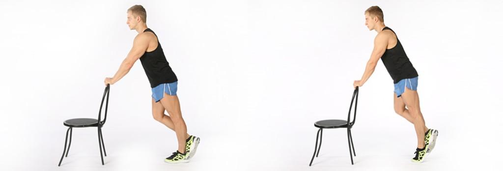 Подъемы на одной ноге с опорой на стул