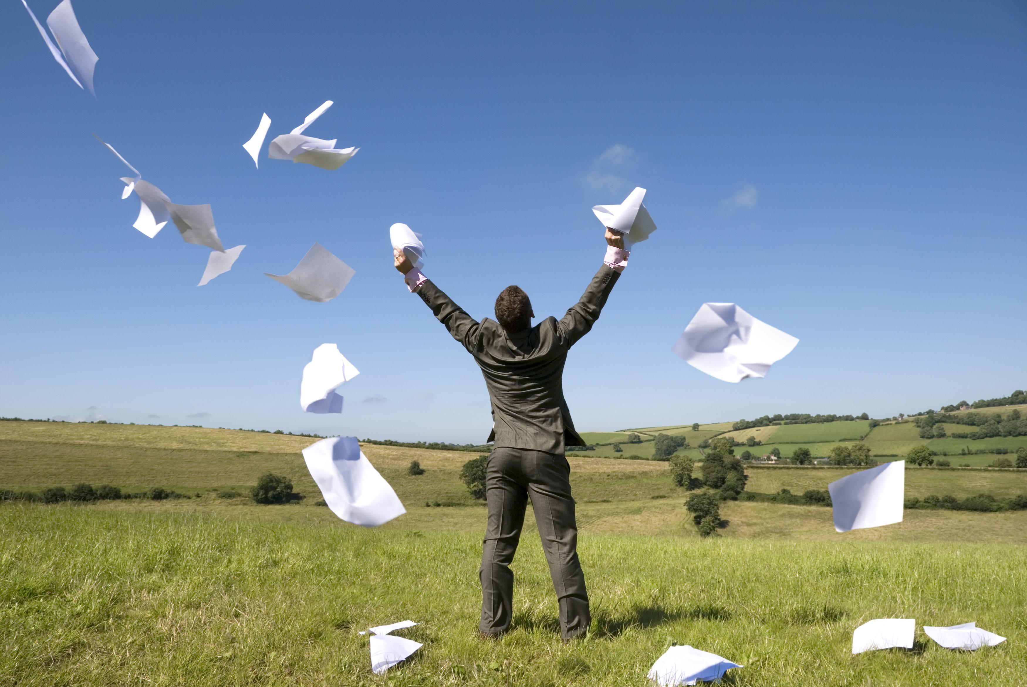 Бизнесмен выкидывает все свои бумаги в чистом поле