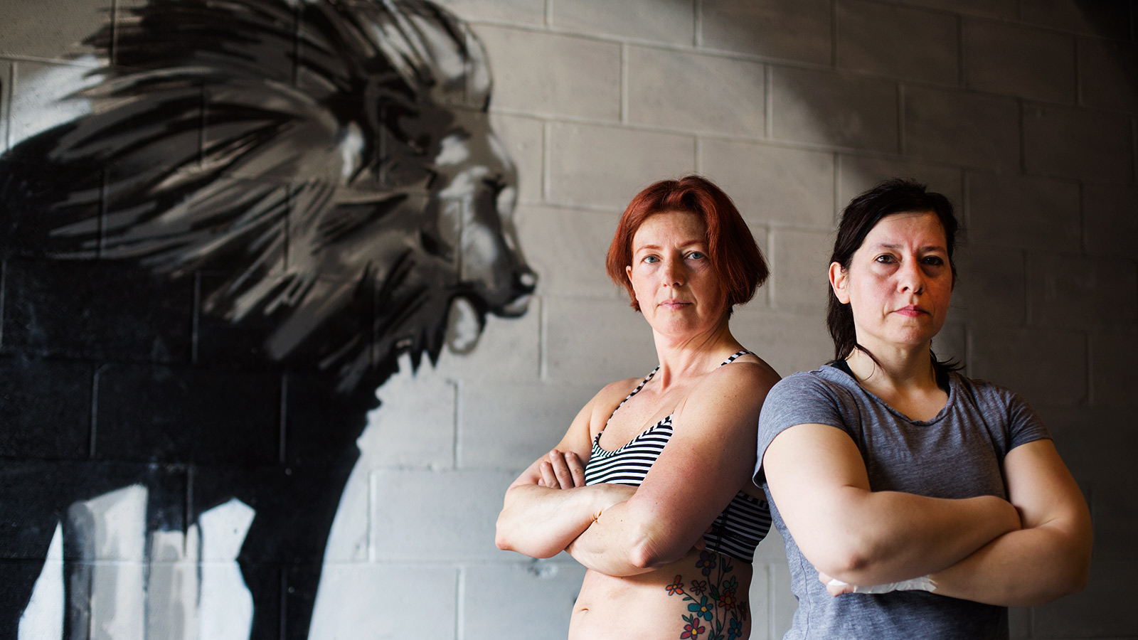 Korina Besednik (left) and Nurit Basin train together on weights at the Academy of Lions in Toronto.