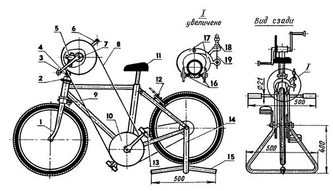 Схема велотренажера на подставке