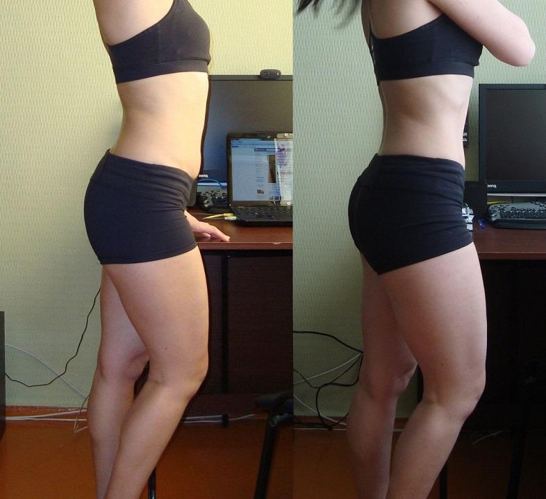 До и после упражнений на фитболе