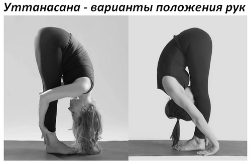 Уттанасана - положения рук