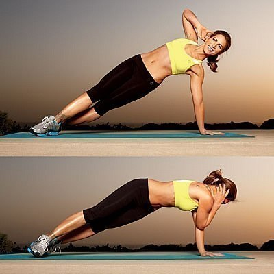 Показ упражнений - Джил Майкс демонстрирует планку
