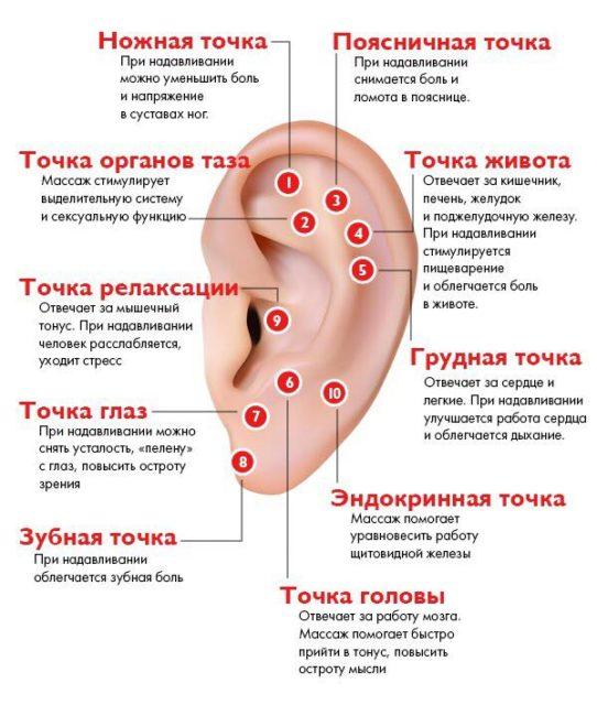 точки на ушах
